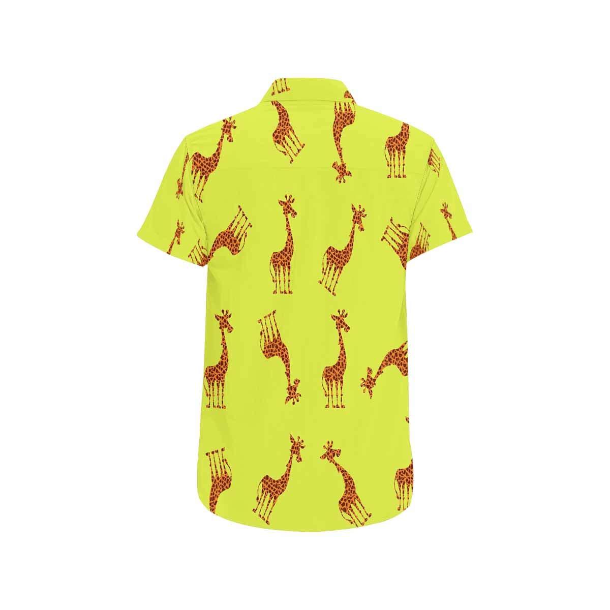 InterestPrint Cute Giraffe Shirts Summer Short Sleeve Stand Collar Casual T-Shirt Beach Tops for Men