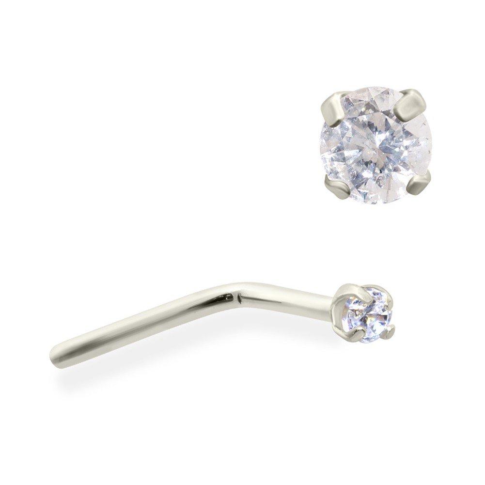 Mspiercing 14k Gold Clear Genuine Diamond Nose Pin Gauge 22 0 6
