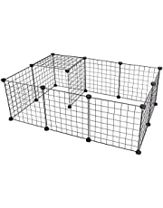 CYY 12 Panels Metal Pet Playpen, Small Animals Playpens Cage, Portable Yard Fence Indoor Ideal for Guinea Pigs, Rabbit, Gerbil, Puppy Pet Products, DIY Metal Wire Yard Fence