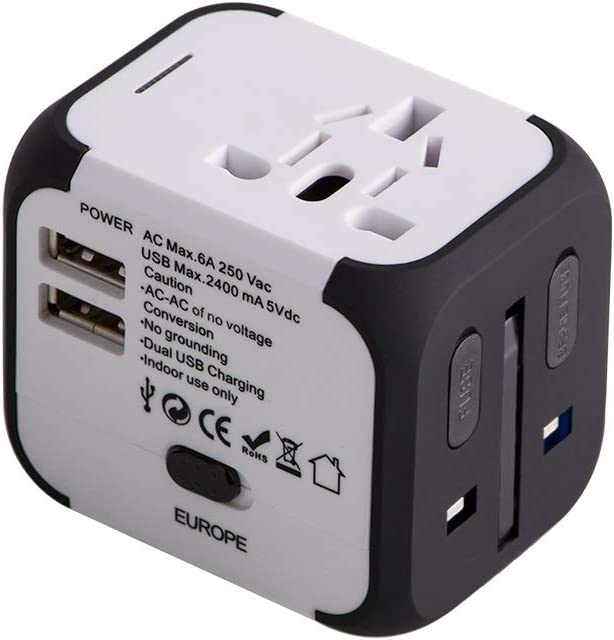 Cargador de Viaje Universal Enchufe Adaptador Internacional con Dos Puertos USB para US EU UK AU acerca de 150 Países y Seguridad de Fusibles para Tableta PC,Smartphones Cámaras-Milool(Blanco: Amazon.es: Electrónica