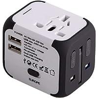 Cargador de Viaje Universal Enchufe Adaptador Internacional con Dos Puertos USB para US EU UK AU acerca de 150 Países y…