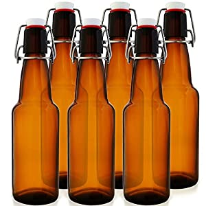 12 oz Swing Top Kombucha Bottles – Grolsch Style Flip Top Glass Bottles – Reduce Carbonation Time – Reusable Home Brewing Bottles (Amber, Case of 6)