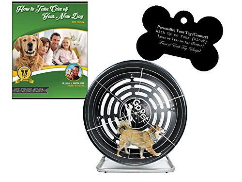 GoPet Small Treadwheel Indoor/Outdoor Dog Exercise Wheel for Dogs Up to 25 Pounds (Model #: CG4012) with FREE Custom Bone Shaped Dog Tag and E-Book by GoPet