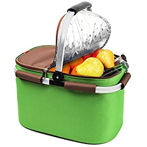 YONOVO 22 L Insulated Picnic Basket Cooler Bag for Famliy Gathering Camping Outdoor Sports(Grass Green)