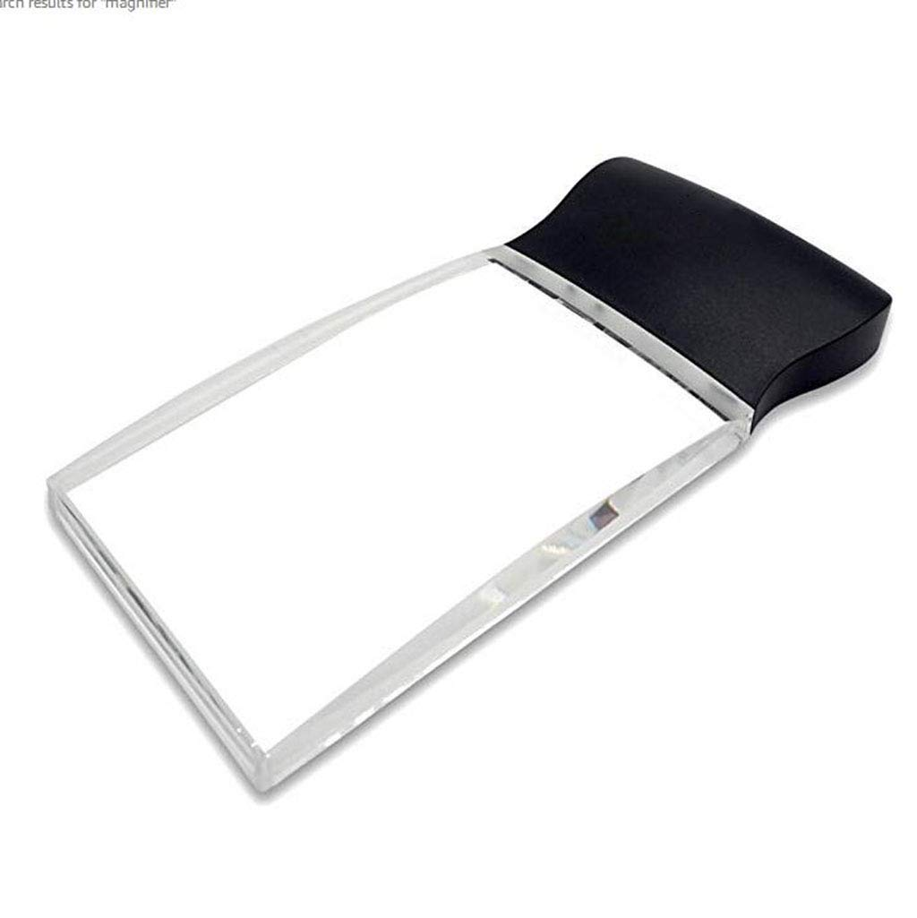 Zichen LED Light 5X Large Rectangular Handheld Magnifier Reading Magnifying Glass - 58 X 102mm Rimless Distortion-Free Lens for Seniors, Low Vision, Books, Pages, Magazines, Newspapers & Maps by Zichen magnifier