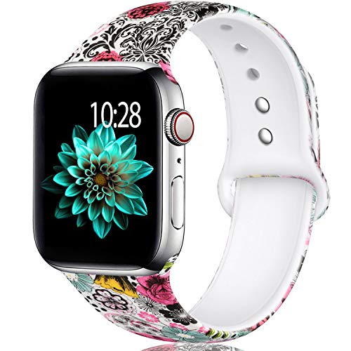 Band M - Laffav Compatible with Apple Watch Band 40mm 38mm for Women, Classic Flower, M/L