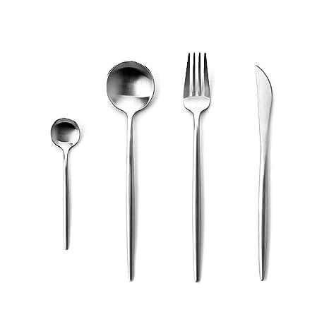 Rojeam Set de Cubiertos de Acero Inoxidable de 4 Piezas para Cocina Incluye Cuchara de Tenedor