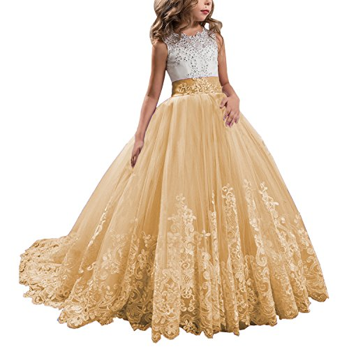 KSDN Wedding Flower Girls Dress Lace Tulle Communion Pageant Gown with Bow Gold Custom Made ()