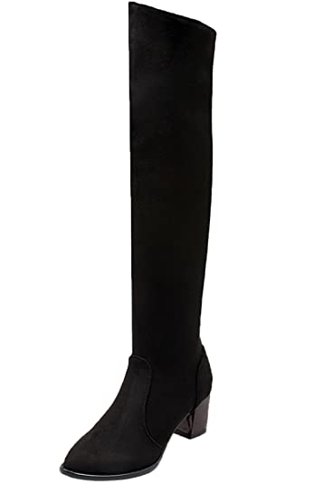 Over Knee Boots Fall Winter Women Faux Suede Casual Chunky Long Boots By BIGTREE