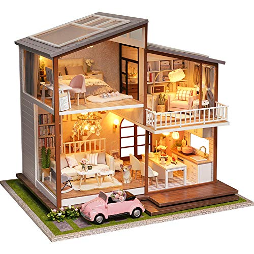 CUTEBEE Dollhouse Miniature with Furniture, DIY Wooden Dollhouse Kit Plus Dust Proof and Music Movement, 1:24 Scale Creative Room Idea (Slow Time)