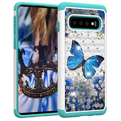 Berry Accessory Galaxy S10 Case,Samsung S10 Luxury Glitter Sparkle Bling Case,Studded Rhinestone Crystal Hybrid Dual Layer Armor Protection Case for Samsung Galaxy S10 Blue Floral Butterly Flowers