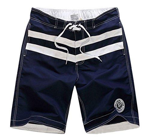 Men's White Stripes Loose Beach Shorts Swim Trunks Dark Blue Asian 2XL