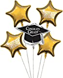 Club Pack of 12 School Bus Yellow Metallic Foil ''Congrats Grad'' Graduation Day Party Balloon Clusters