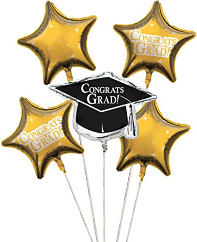Club Pack of 12 School Bus Yellow Metallic Foil ''Congrats Grad'' Graduation Day Party Balloon Clusters by Party Central