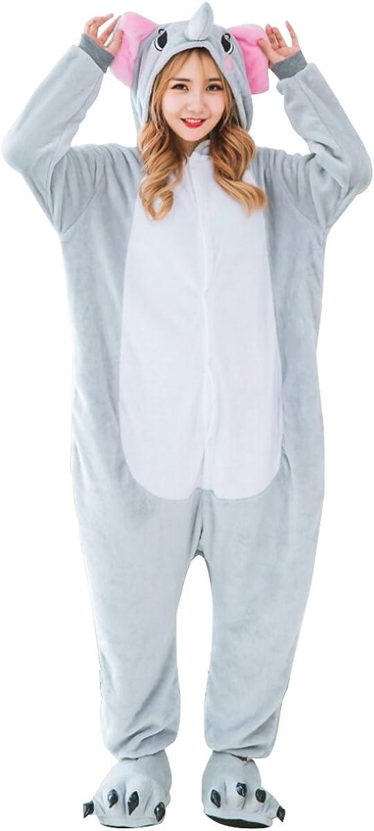 LmeiKK Adult Cosplay Flannel Anime Cartoon Onesie Animal Pajamas Elephant Gray