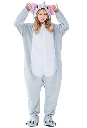 c8932bcdd4a8 Amazon.com  LmeiKK Adult Cosplay Flannel Anime Cartoon Onesie Animal  Pajamas Elephant Gray  Clothing