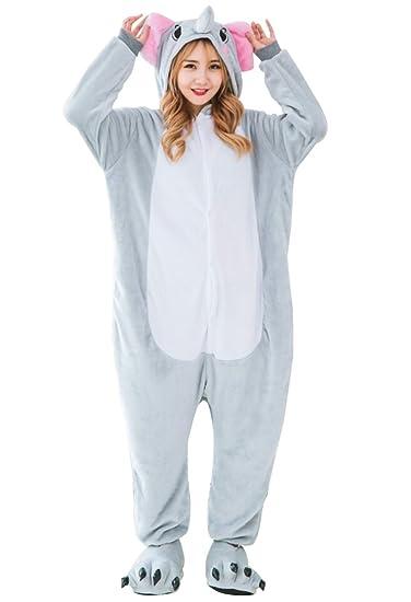 Amazon.com  LmeiKK Adult Cosplay Flannel Anime Cartoon Onesie Animal  Pajamas Elephant Gray  Clothing f7d2c88e1