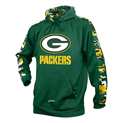 Hoodie Green Camo - Zubaz NFL Green Bay Packers Men's Camo Print Accent Team Logo Synthetic Hoodie, Large, Green