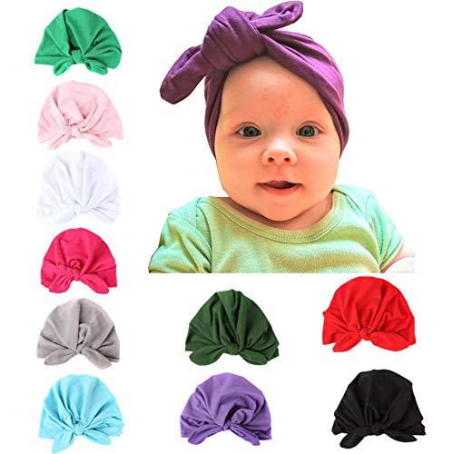 (Upsmile 10 Pieces Adorable Baby Knot Headbands Newborn Elastic Sretch Turbans Wrap Baby Hat)