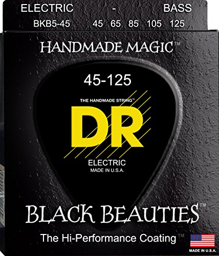 DR Strings Bass Strings, Black Beauties BASS Black Coated Nickel Plated Bass Guitar Strings on Round Core by DR Strings (Image #1)