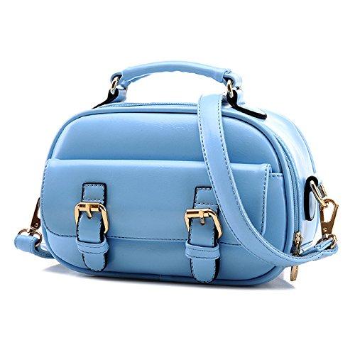 GSPStyle Damen Schultertasche Doppelt Buckles Damenhandtaschen Cross Body Tasche Umhängetasche Farbe Hellblau
