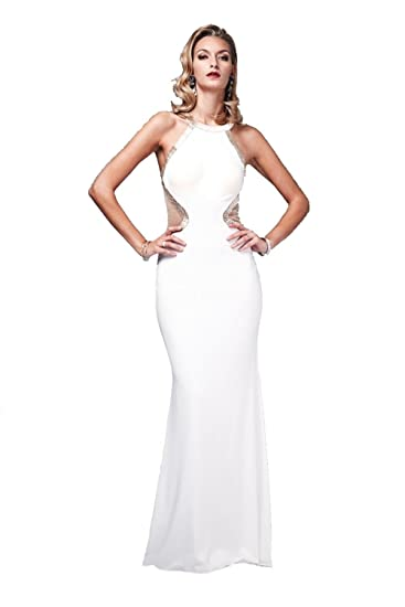 0a10e2ec8e45 Mascara White 181068G Beaded Low Back Cut Out Gown UK 10 (US 6): Amazon.co. uk: Clothing