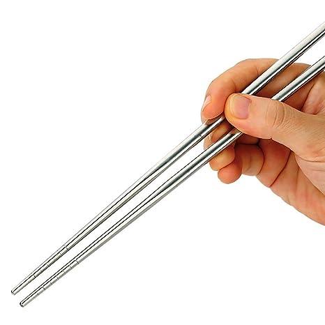 Ogquaton 1 Pares de Palillos Chinos de Acero Inoxidable Antideslizante Anti-Caliente Palillos Chinos Huecos adecuados para la Cena de la Cocina