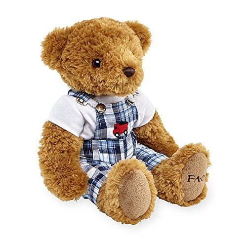 FAO Schwarz 12 inch Stuffed Bear in Overalls - Brown