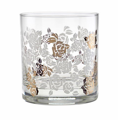 Culver Gold 22k White Roses 11-Ounce Old Fashioned Glass (Set of - Gold Culver Glasses