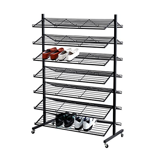 7-Tier Double-Sided Commercial Rolling Black Metal Retail Shoe Display Rack, 70 Pairs Capacity - Retail Display Shelving