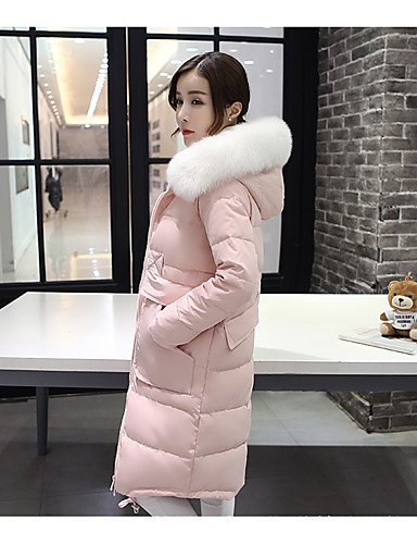 Women's chic Blue Solid Sleeve YRF Gray Black Hooded Down Simple Pink BLACK Street Coat M Long dwSCvq