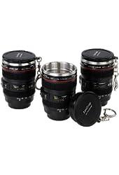 Fotodiox LenZcup EF Shotglass Set - Set of Three Camera Lens Mug Shot Glass Key chains, Mini Replica of Canon EF 24-105mm f/4L IS USM Lens (1:4), 1.5oz Stainless Steel Interior