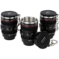 Fotodiox LenZcup EF Shotglass Set - Set of Three Camera Lens Mug Shot Glass Key chains, Mini Replica of Canon EF 24-105mm f/4L IS USM Lens (1:4), 1.5oz Stainless Steel Interior