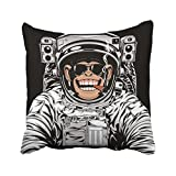 Emvency Astronaut Funny Chimpanzee in Astronauts Suit Smoking Cigar Monkey Comic Cosmonaut Space Chimp Helmet Throw Pillow Cover Covers 20x20 inch Decorative Pillowcase Cases Case Two Side