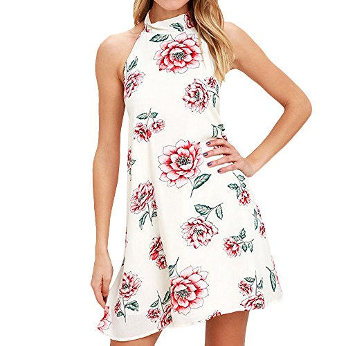 Halter Dress Silk Neck (Women's Halter Neck Floral A-Line Backless Swing Sundress Summer Midi Dresses for Woman)
