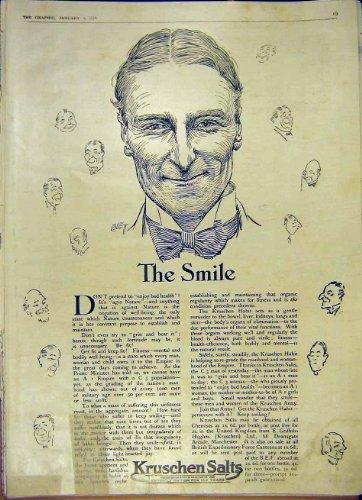 Smile Kruschen Salts Medical Advert Old Print 1919