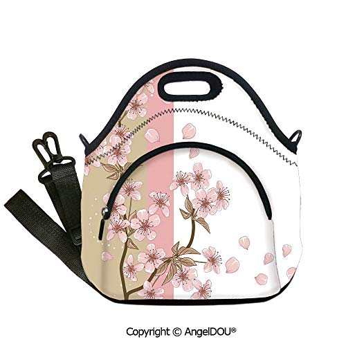 AngelDOU Japanese portable thickening insulation tape Lunch bag Romantic Sakura Blooms Flowers Petals Spring Wind Eastern Nature Theme insulation cold portable outdoor picnic lun12.6x12.6x6.3(inch)