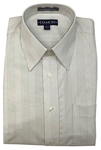 (Point Collar Multi Stripe Ultra Pinpoint Dress Shirt (Smoke, 15.5 32/33))