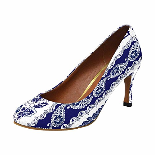 InterestPrint Womens Classic Fashion High Heel Dress Pump Shoes Stripes With Blue Floral Motifs, Roses, Paisleys