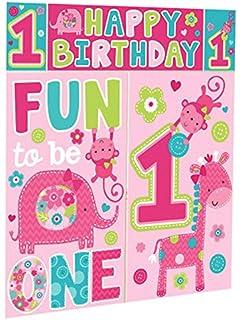 Amazon Com Amscan 12 Wild Fun To Be One Pink Girl S 1st Birthday