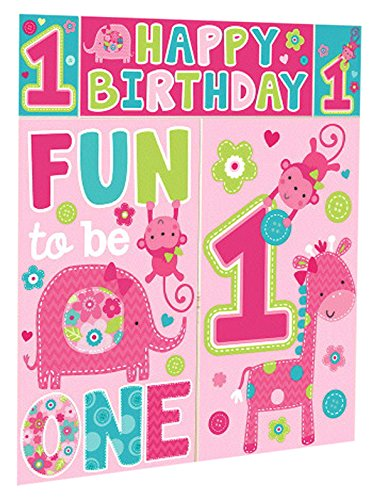 One Wild Girl 1st Birthday Party Scene Setter Wall Decorating Kit, 5 Pieces, Made from Vinyl, Pink, 59