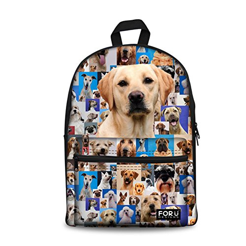 Price comparison product image FOR U DESIGNS Funny 3D Dogs Printing Cotton Backpacks Casual Daypack Satchel