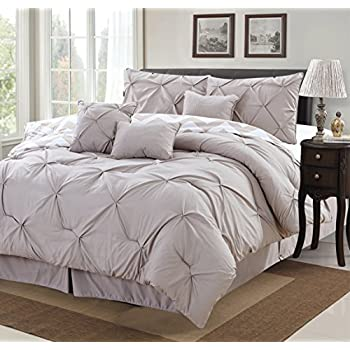 7 piece modern pinch pleated comforter set queen taupe - Bed Set Queen