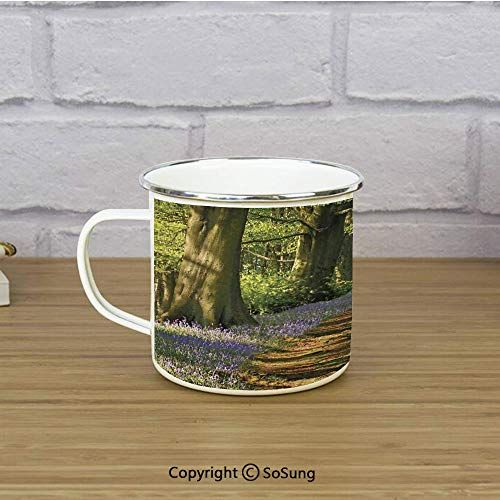 (Woodland Decor Enamel Camping Mug Travel Cup,A Carpet of Bluebells Spreads through the Woodland in Staffordshire England,11 oz Practical Cup for Kitchen, Campfire, Home, TravelGreen Purple Brown)