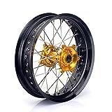 TARAZON 17 x 4.25 MX Rear Complete Wheel Kit Rim Spokes Gold Hub for Suzuki RMZ250 2007-2016 RMZ450 2005-2016