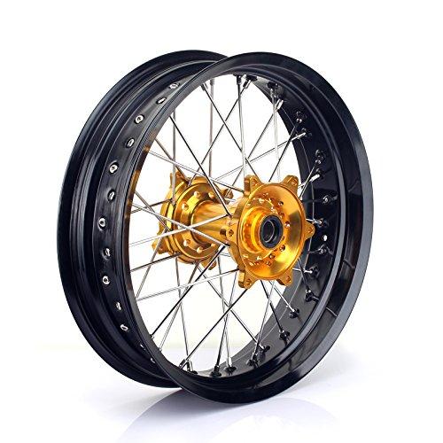 TARAZON 17 x 4.25 Rear Complete Wheel Kit Rim Spokes Gold Hub for Suzuki RMZ250 2007-2018 RMZ450 2005-2018