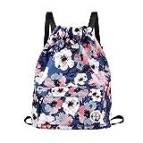 Sport Swimming Yoga Drawstring Backpack - Horsky Anime Leaf Shoulder School Bag Lightweight for Students Teens Boy Girl Travel Camping 35 L (Plum Blossom)