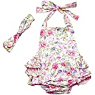 DQdq Baby Girls' Floral Print Ruffles Romper Summer Dress White Peony 6 Month
