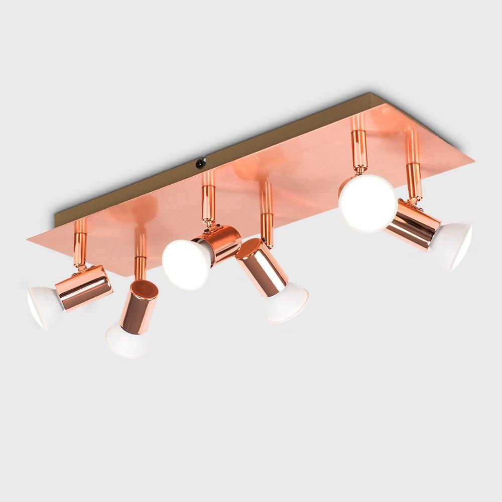 Modern Rectangular Gloss Grey /& Chrome 6 Way Adjustable Ceiling Spotlight