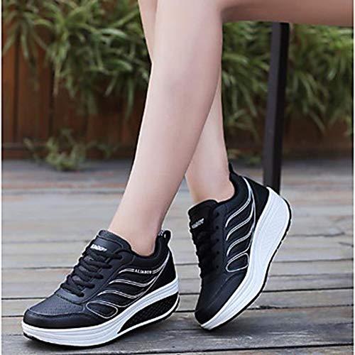 TTSHOES Talon Automne Gris Confort Plat Femme Bout US6 CN36 Polyuréthane Chaussures UK4 Black Printemps Noir EU36 Blanc Basket Rond r0qrOwIn